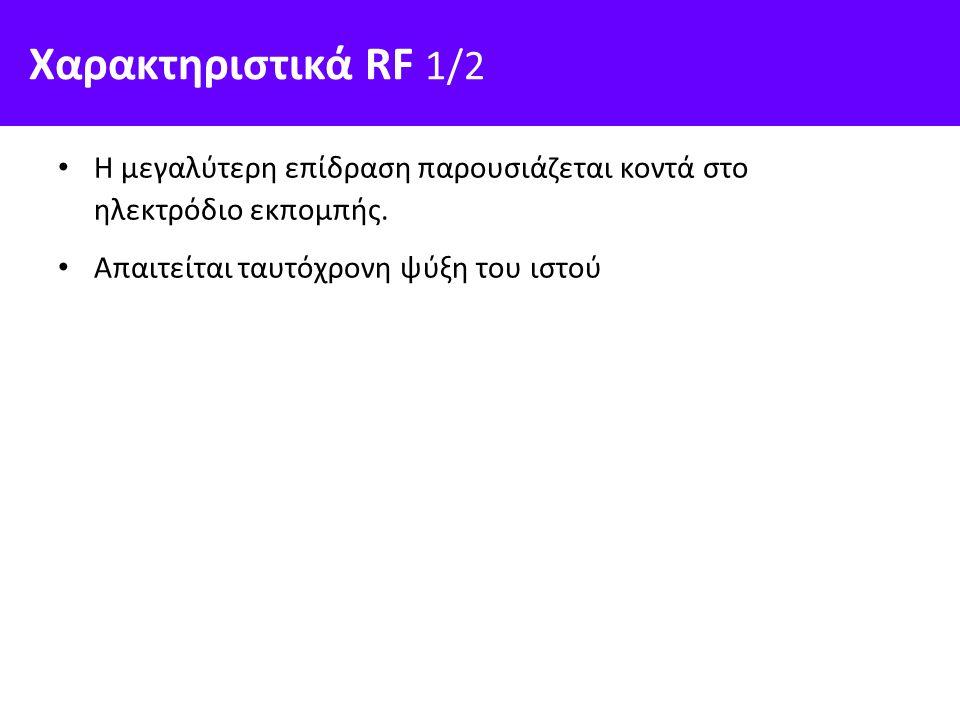Χαρακτηριστικά RF 1/2 Η μεγαλύτερη επίδραση παρουσιάζεται κοντά στο ηλεκτρόδιο εκπομπής. Απαιτείται ταυτόχρονη ψύξη του ιστού