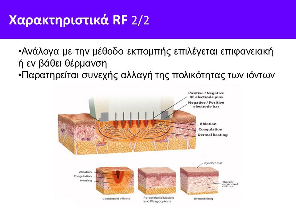 Χαρακτηριστικά RF 2/2 Ανάλογα με την μέθοδο εκπομπής επιλέγεται επιφανειακή ή εν βάθει θέρμανση Παρατηρείται συνεχής αλλαγή της πολικότητας των ιόντων