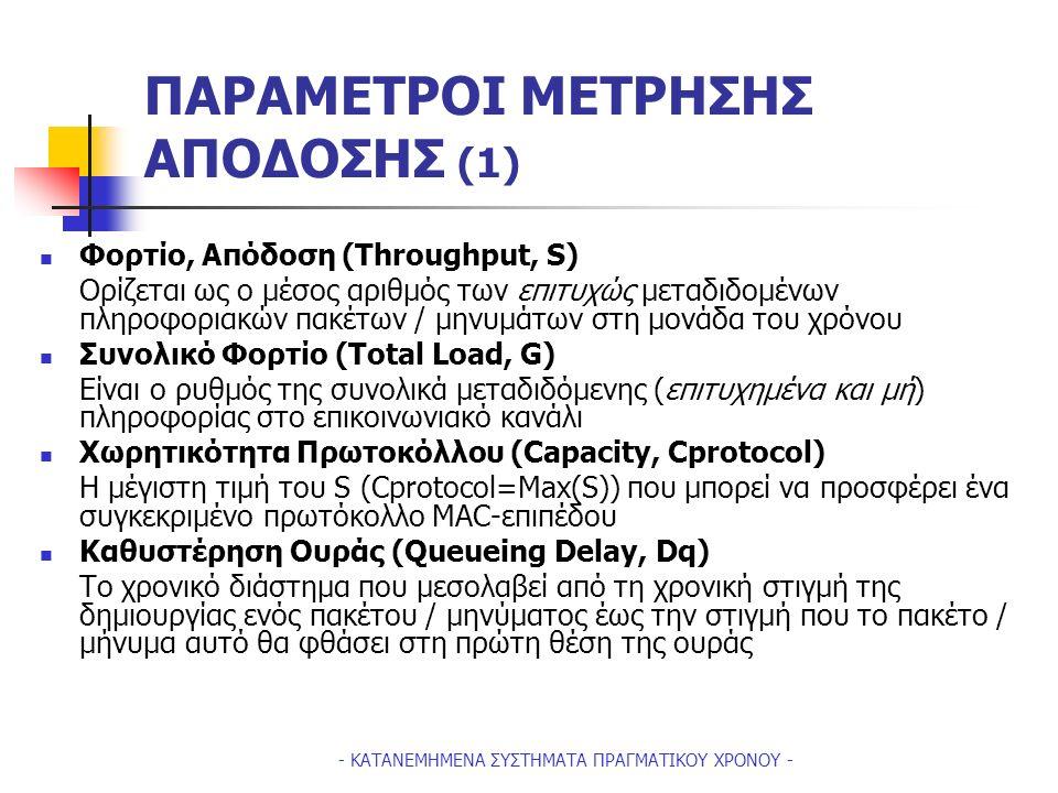 - ΚΑΤΑΝΕΜΗΜΕΝΑ ΣΥΣΤΗΜΑΤΑ ΠΡΑΓΜΑΤΙΚΟΥ ΧΡΟΝΟΥ - ΠΑΡΑΜΕΤΡΟΙ ΜΕΤΡΗΣΗΣ ΑΠΟΔΟΣΗΣ (1) Φορτίο, Απόδοση (Throughput, S) Ορίζεται ως ο μέσος αριθμός των επιτυχώς μεταδιδομένων πληροφοριακών πακέτων / μηνυμάτων στη μονάδα του χρόνου Συνολικό Φορτίο (Total Load, G) Είναι ο ρυθμός της συνολικά μεταδιδόμενης (επιτυχημένα και μή) πληροφορίας στο επικοινωνιακό κανάλι Χωρητικότητα Πρωτοκόλλου (Capacity, Cprotocol) H μέγιστη τιμή του S (Cprotocol=Max(S)) που μπορεί να προσφέρει ένα συγκεκριμένο πρωτόκολλο ΜΑC-επιπέδου Καθυστέρηση Ουράς (Queueing Delay, Dq) Tο χρονικό διάστημα που μεσολαβεί από τη χρονική στιγμή της δημιουργίας ενός πακέτου / μηνύματος έως την στιγμή που το πακέτο / μήνυμα αυτό θα φθάσει στη πρώτη θέση της ουράς