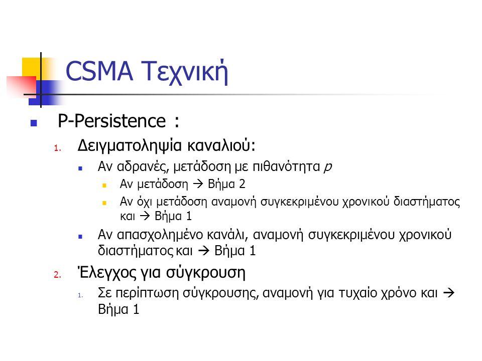 CSMA Τεχνική P-Persistence : 1. Δειγματοληψία καναλιού: Αν αδρανές, μετάδοση με πιθανότητα p Αν μετάδοση  Βήμα 2 Αν όχι μετάδοση αναμονή συγκεκριμένο