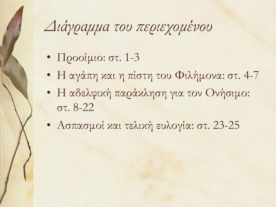 Διάγραμμα του περιεχομένου Προοίμιο: στ. 1-3 Η αγάπη και η πίστη του Φιλήμονα: στ.