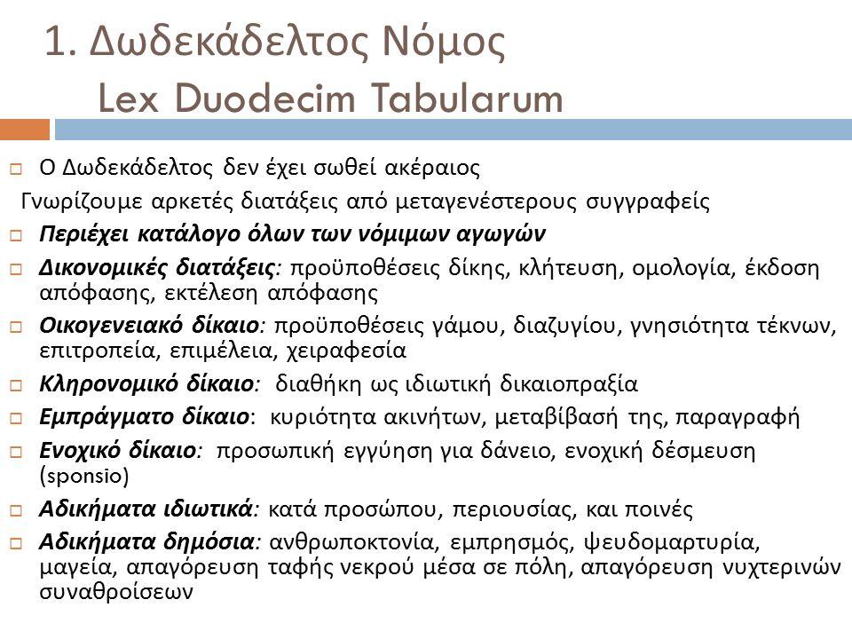 1. Δωδεκάδελτος Νόμος Lex Duodecim Tabularum  Ο Δωδεκάδελτος δεν έχει σωθεί ακέραιος Γνωρίζουμε αρκετές διατάξεις από μεταγενέστερους συγγραφείς  Πε