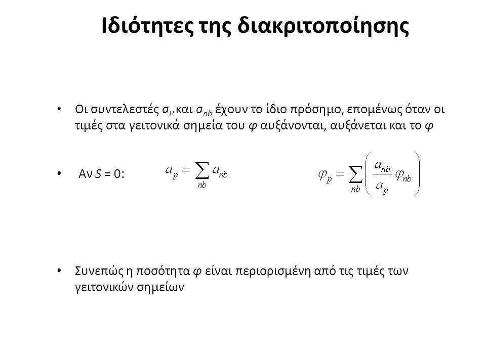Ιδιότητες της διακριτοποίησης Οι συντελεστές a P και a nb έχουν το ίδιο πρόσημο, επομένως όταν οι τιμές στα γειτονικά σημεία του φ αυξάνονται, αυξάνεται και το φ Αν S = 0: Συνεπώς η ποσότητα φ είναι περιορισμένη από τις τιμές των γειτονικών σημείων