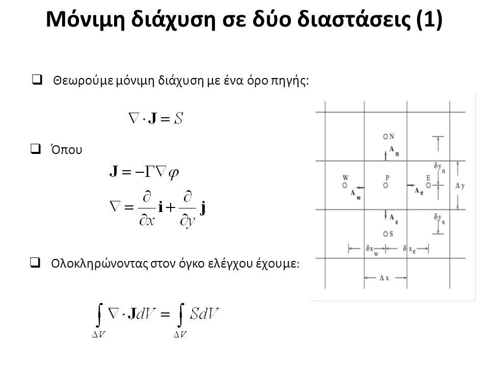 Μόνιμη διάχυση σε δύο διαστάσεις (1)  Θεωρούμε μόνιμη διάχυση με ένα όρο πηγής:  Ολοκληρώνοντας στον όγκο ελέγχου έχουμε :  Όπου