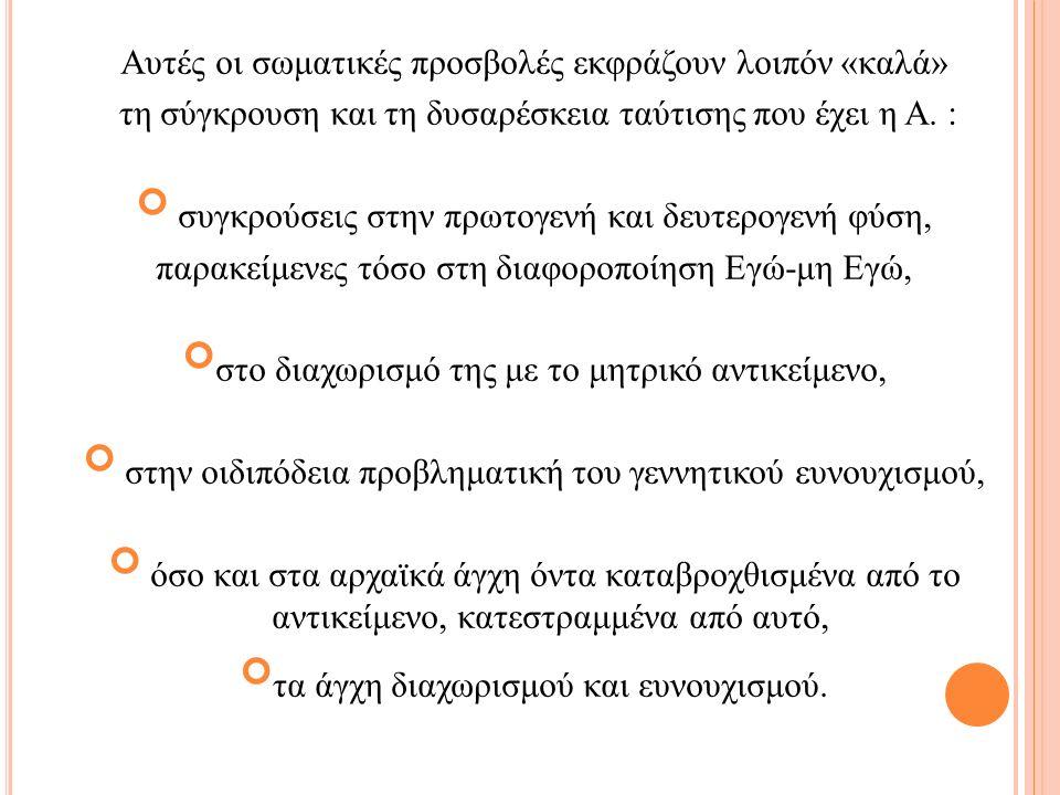 Αυτές οι σωματικές προσβολές εκφράζουν λοιπόν «καλά» τη σύγκρουση και τη δυσαρέσκεια ταύτισης που έχει η Α.