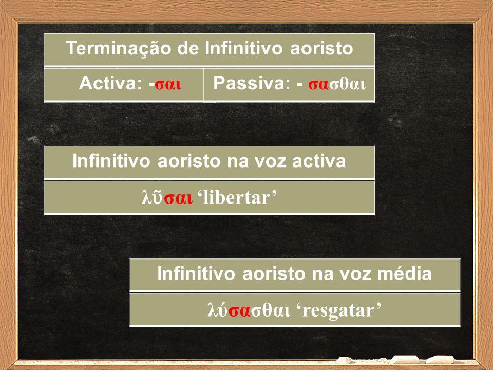 Infinitivo aoristo na voz activa λ ῦ σαι 'libertar' Infinitivo aoristo na voz média λύσασθαι 'resgatar' Terminação de Infinitivo aoristo Activa: - σαι