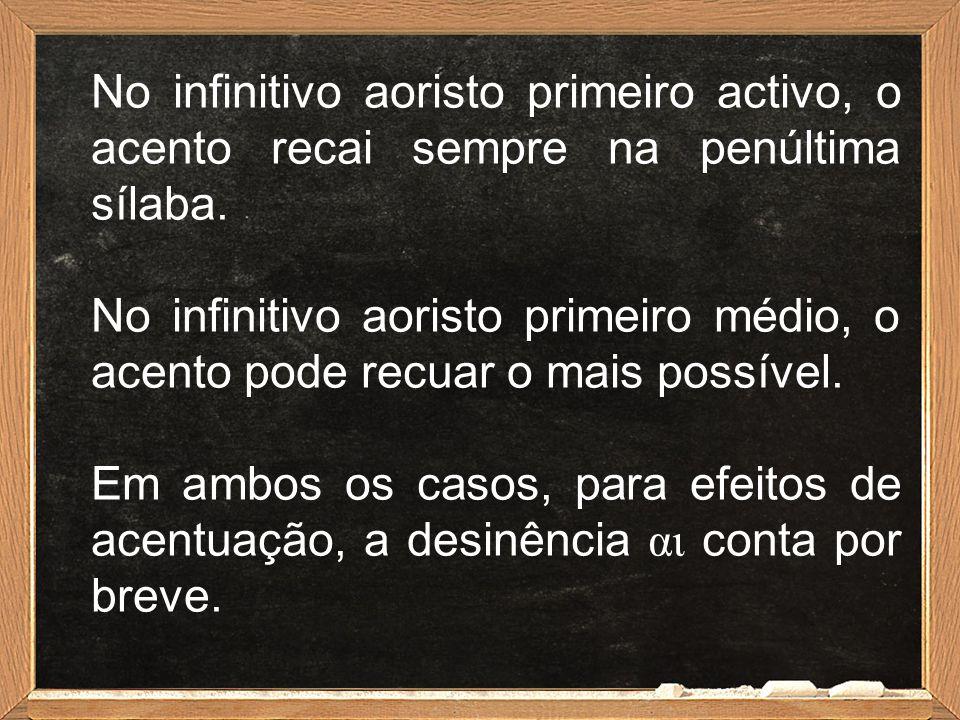 No infinitivo aoristo primeiro activo, o acento recai sempre na penúltima sílaba. No infinitivo aoristo primeiro médio, o acento pode recuar o mais po