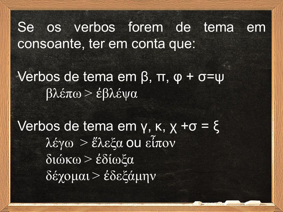 Se os verbos forem de tema em consoante, ter em conta que: Verbos de tema em β, π, φ + σ=ψ βλέπω > ἐ βλέψα Verbos de tema em γ, κ, χ +σ = ξ λέγω > ἔ λ