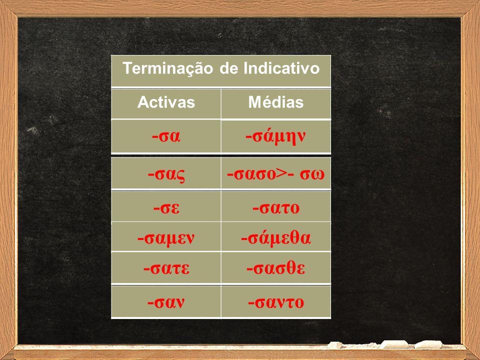 Verbos de tema em δ, θ, τ, ζ + σ =σ σπεύδω > ἔ σπευσα 'apressei' πείθω> ἔ πεισα 'persuadi' πάττω> ἔ πασα 'derramei' παρασκευάζω>παρεσκεύασα 'preparei' κομίζω > ἐ κόμισα 'trouxe'