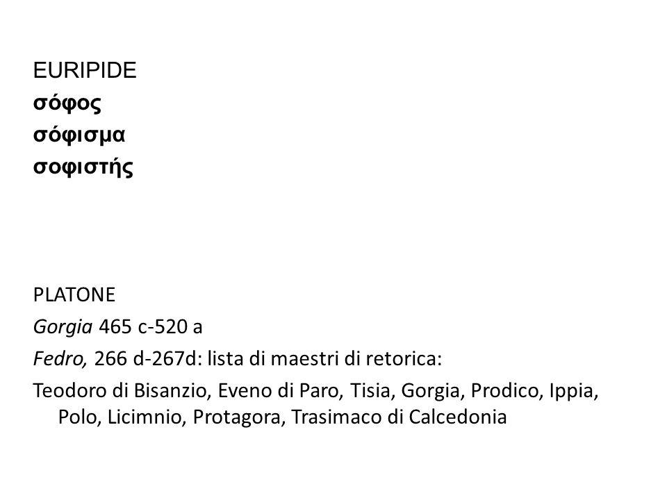 EURIPIDE σόφος σόφισμα σοφιστής PLATONE Gorgia 465 c-520 a Fedro, 266 d-267d: lista di maestri di retorica: Teodoro di Bisanzio, Eveno di Paro, Tisia, Gorgia, Prodico, Ippia, Polo, Licimnio, Protagora, Trasimaco di Calcedonia