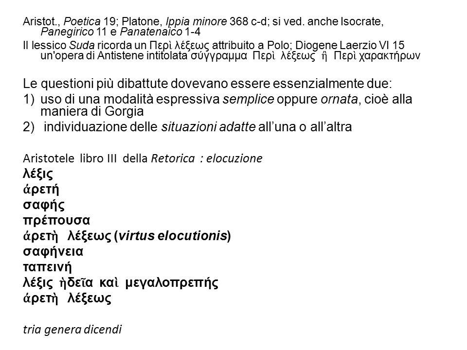 Aristot., Poetica 19; Platone, Ippia minore 368 c-d; si ved. anche Isocrate, Panegirico 11 e Panatenaico 1-4 Il lessico Suda ricorda un Περ ὶ λέξεως a