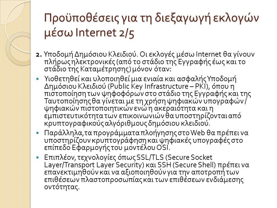 Προϋποθέσεις για τη διεξαγωγή εκλογών µ έσω Internet 2/5 2.