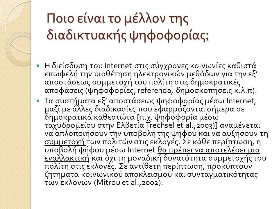 Ποιο είναι το μέλλον της διαδικτυακής ψηφοφορίας ; H διείσδυση του Internet στις σύγχρονες κοινωνίες καθιστά επωφελή την υιοθέτηση ηλεκτρονικών µ εθόδων για την εξ ' αποστάσεως συ µµ ετοχή του πολίτη στις δη µ οκρατικές αποφάσεις ( ψηφοφορίες, referenda, δη µ οσκοπήσεις κ.