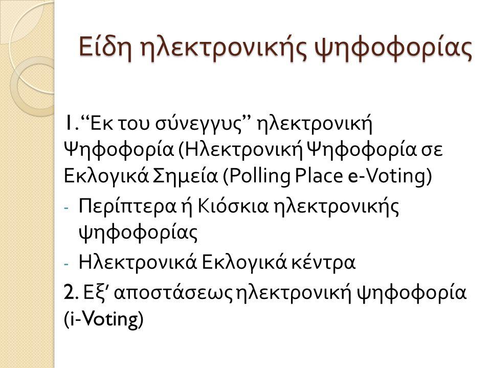 Είδη ηλεκτρονικής ψηφοφορίας 1.