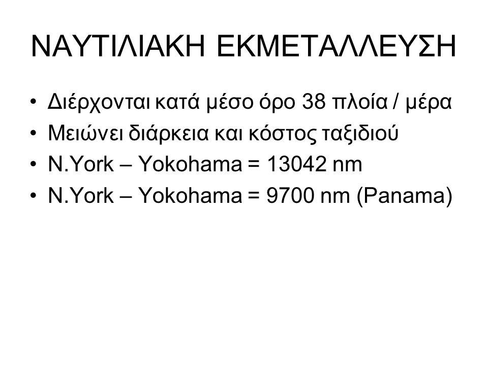 ΝΑΥΤΙΛΙΑΚΗ ΕΚΜΕΤΑΛΛΕΥΣΗ Διέρχονται κατά μέσο όρο 38 πλοία / μέρα Μειώνει διάρκεια και κόστος ταξιδιού Ν.Υork – Yokohama = 13042 nm N.York – Yokohama = 9700 nm (Panama)