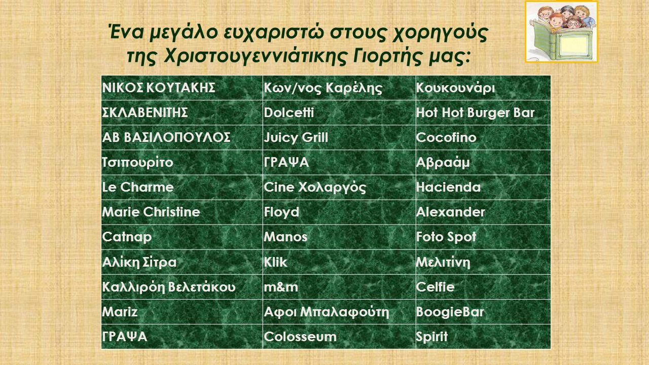 ΝΙΚΟΣ ΚΟΥΤΑΚΗΣΚων/νος ΚαρέληςΚουκουνάρι ΣΚΛΑΒΕΝΙΤΗΣDolcettiHot Hot Burger Bar ΑΒ ΒΑΣΙΛΟΠΟΥΛΟΣJuicy GrillCocofino ΤσιπουρίτοΓΡΑΨΑΑβραάµ Le CharmeCine Χ