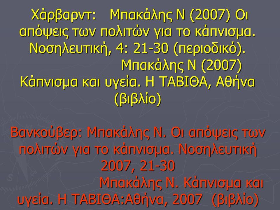 Χάρβαρντ: Μπακάλης Ν (2007) Οι απόψεις των πολιτών για το κάπνισμα.