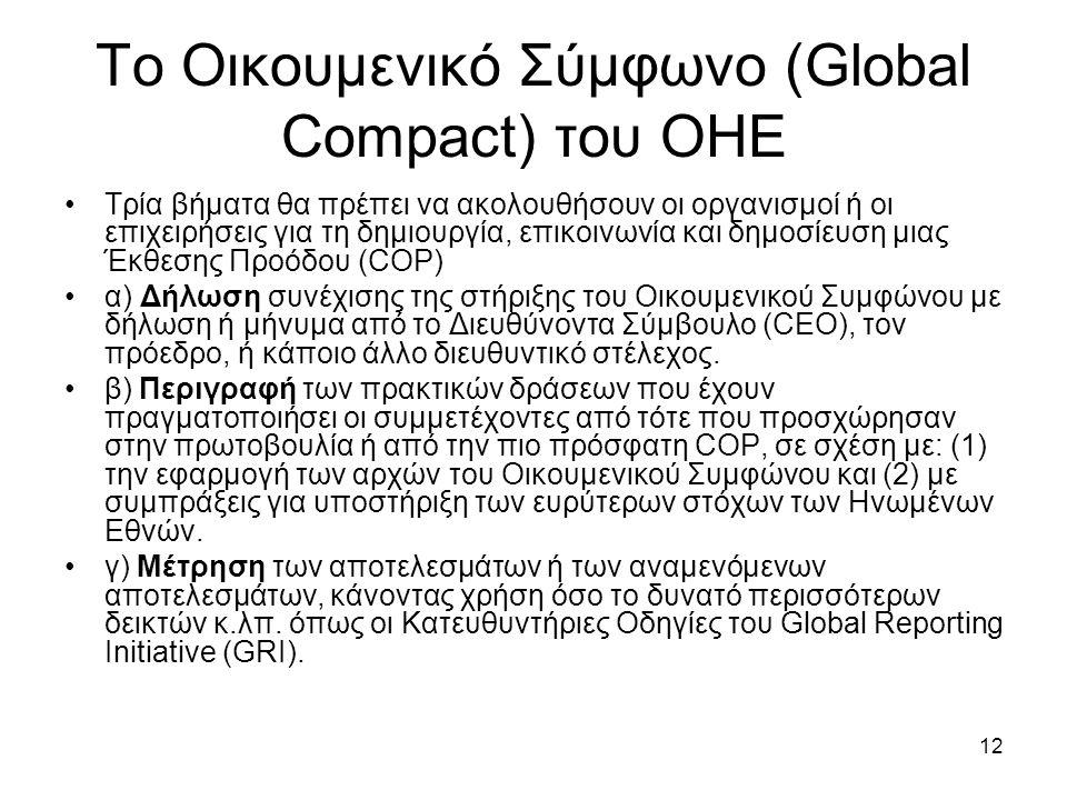 12 Το Οικουμενικό Σύμφωνο (Global Compact) του ΟΗΕ Τρία βήματα θα πρέπει να ακολουθήσουν οι οργανισμοί ή οι επιχειρήσεις για τη δημιουργία, επικοινωνία και δημοσίευση μιας Έκθεσης Προόδου (COP) α) Δήλωση συνέχισης της στήριξης του Οικουμενικού Συμφώνου με δήλωση ή μήνυμα από το Διευθύνοντα Σύμβουλο (CEO), τον πρόεδρο, ή κάποιο άλλο διευθυντικό στέλεχος.