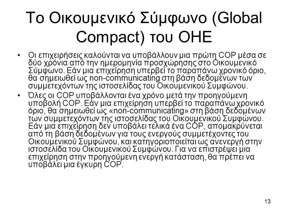 13 Το Οικουμενικό Σύμφωνο (Global Compact) του ΟΗΕ Οι επιχειρήσεις καλούνται να υποβάλλουν μια πρώτη COP μέσα σε δύο χρόνια από την ημερομηνία προσχώρησης στο Οικουμενικό Σύμφωνο.