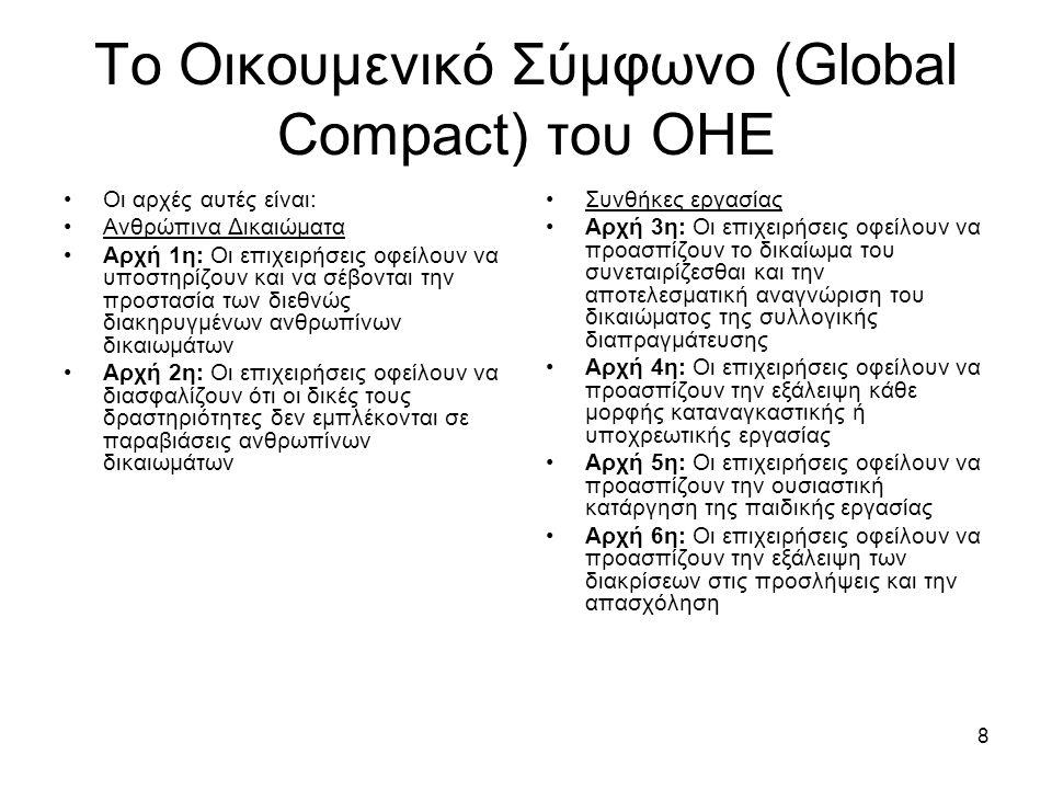 8 Το Οικουμενικό Σύμφωνο (Global Compact) του ΟΗΕ Οι αρχές αυτές είναι: Ανθρώπινα Δικαιώματα Αρχή 1η: Οι επιχειρήσεις οφείλουν να υποστηρίζουν και να σέβονται την προστασία των διεθνώς διακηρυγμένων ανθρωπίνων δικαιωμάτων Αρχή 2η: Οι επιχειρήσεις οφείλουν να διασφαλίζουν ότι οι δικές τους δραστηριότητες δεν εμπλέκονται σε παραβιάσεις ανθρωπίνων δικαιωμάτων Συνθήκες εργασίας Αρχή 3η: Οι επιχειρήσεις οφείλουν να προασπίζουν το δικαίωμα του συνεταιρίζεσθαι και την αποτελεσματική αναγνώριση του δικαιώματος της συλλογικής διαπραγμάτευσης Αρχή 4η: Οι επιχειρήσεις οφείλουν να προασπίζουν την εξάλειψη κάθε μορφής καταναγκαστικής ή υποχρεωτικής εργασίας Αρχή 5η: Οι επιχειρήσεις οφείλουν να προασπίζουν την ουσιαστική κατάργηση της παιδικής εργασίας Αρχή 6η: Οι επιχειρήσεις οφείλουν να προασπίζουν την εξάλειψη των διακρίσεων στις προσλήψεις και την απασχόληση