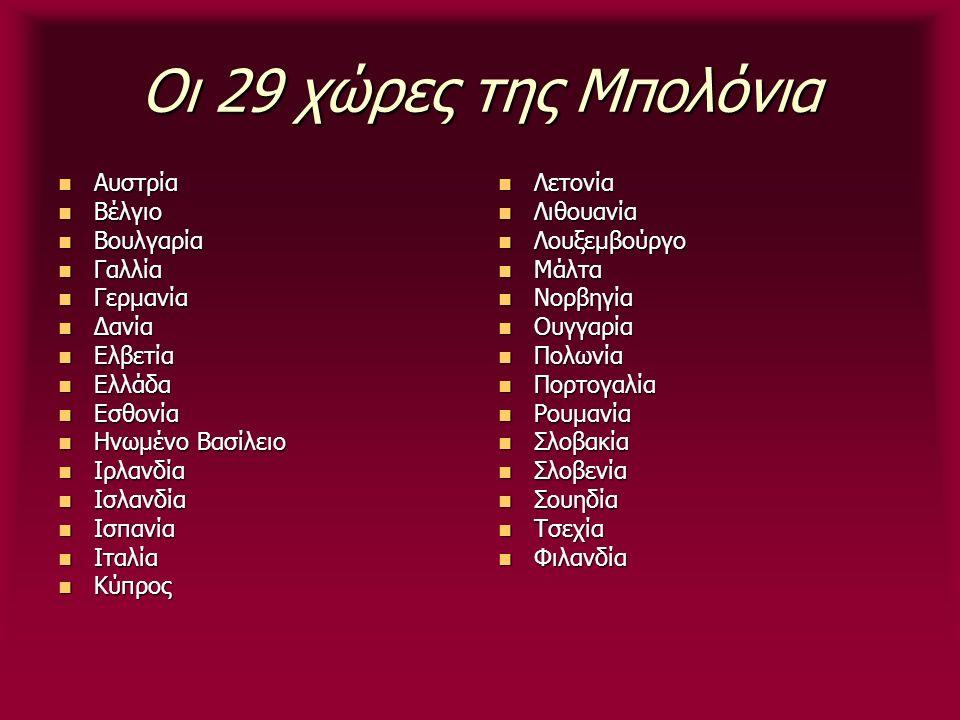Οι 29 χώρες της Μπολόνια Αυστρία Αυστρία Βέλγιο Βέλγιο Βουλγαρία Βουλγαρία Γαλλία Γαλλία Γερμανία Γερμανία Δανία Δανία Ελβετία Ελβετία Ελλάδα Ελλάδα Ε