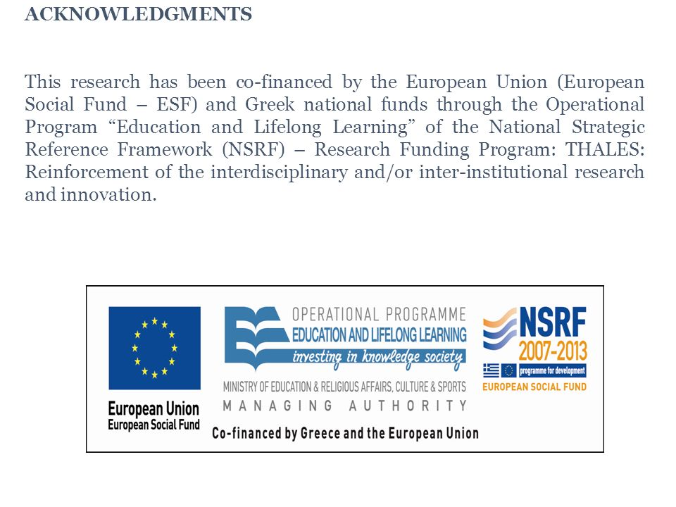 ACKNOWLEDGMENTS This research has been co-financed by the European Union (European Social Fund – ESF) and Greek national funds through the Operational Program Education and Lifelong Learning of the National Strategic Reference Framework (NSRF) – Research Funding Program: THALES: Reinforcement of the interdisciplinary and/or inter-institutional research and innovation.