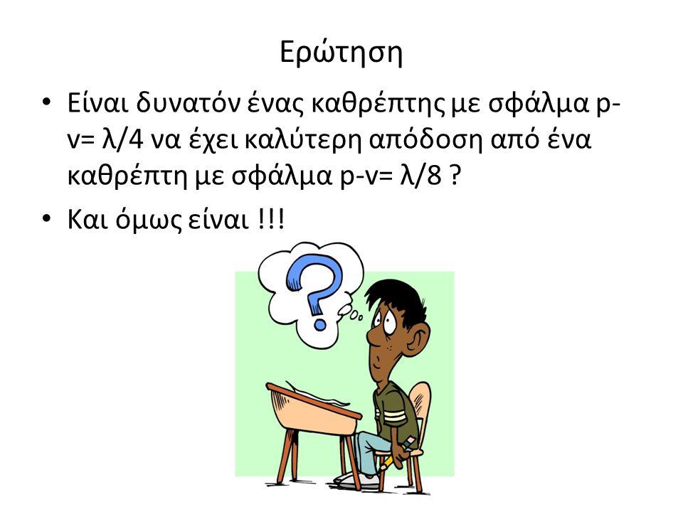 Ερώτηση Είναι δυνατόν ένας καθρέπτης με σφάλμα p- v= λ/4 να έχει καλύτερη απόδοση από ένα καθρέπτη με σφάλμα p-v= λ/8 .