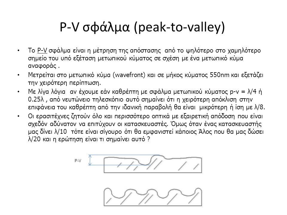 P-V σφάλμα (peak-to-valley) Το P-V σφάλμα είναι η μέτρηση της απόστασης από το ψηλότερο στο χαμηλότερο σημείο του υπό εξέταση μετωπικού κύματος σε σχέση με ένα μετωπικό κύμα αναφοράς.