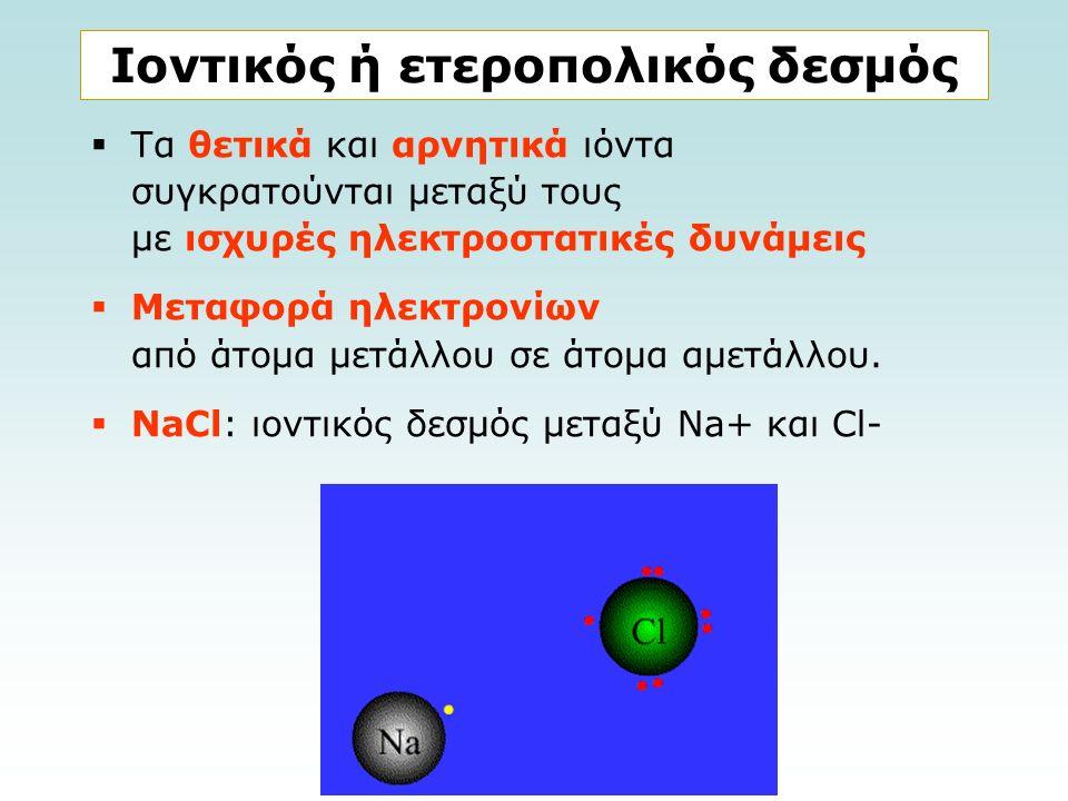 Ιοντικός ή ετεροπολικός δεσμός  Τα θετικά και αρνητικά ιόντα συγκρατούνται μεταξύ τους με ισχυρές ηλεκτροστατικές δυνάμεις  Μεταφορά ηλεκτρονίων από άτομα μετάλλου σε άτομα αμετάλλου.