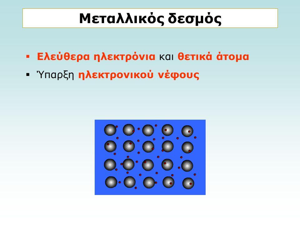 Μεταλλικός δεσμός  Ελεύθερα ηλεκτρόνια και θετικά άτομα  Ύπαρξη ηλεκτρονικού νέφους