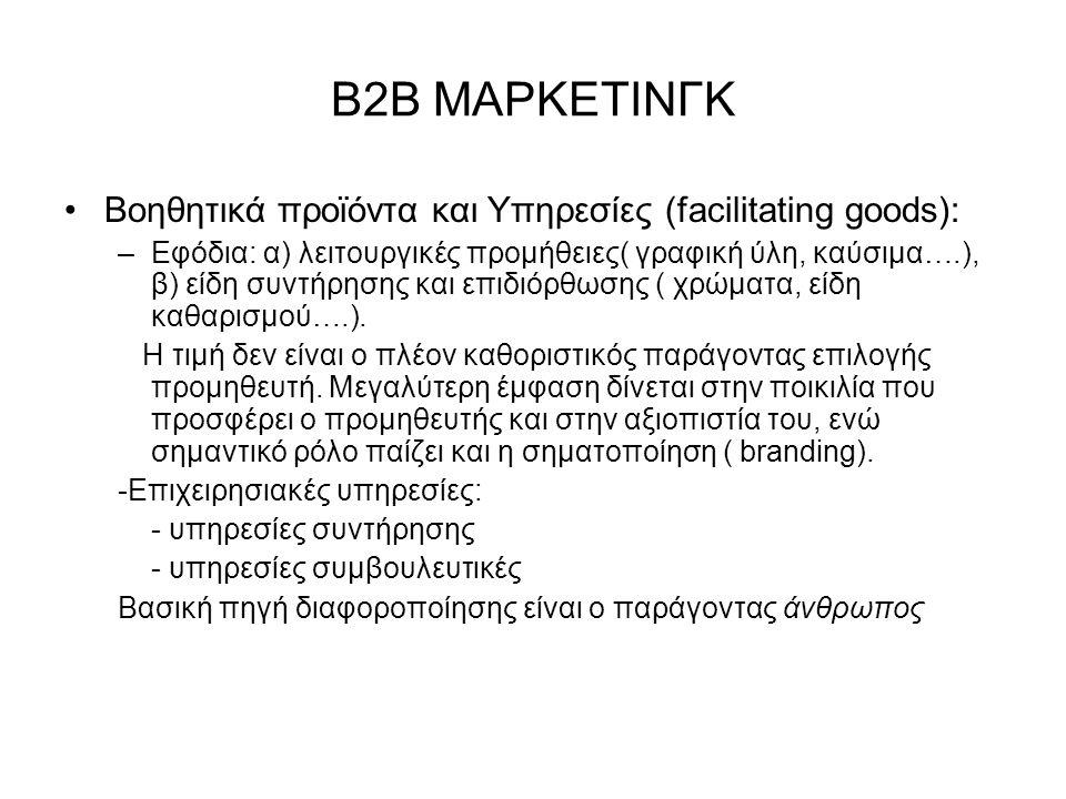 Β2Β ΜΑΡΚΕΤΙΝΓΚ Βοηθητικά προϊόντα και Υπηρεσίες (facilitating goods): –Εφόδια: α) λειτουργικές προμήθειες( γραφική ύλη, καύσιμα….), β) είδη συντήρησης και επιδιόρθωσης ( χρώματα, είδη καθαρισμού….).