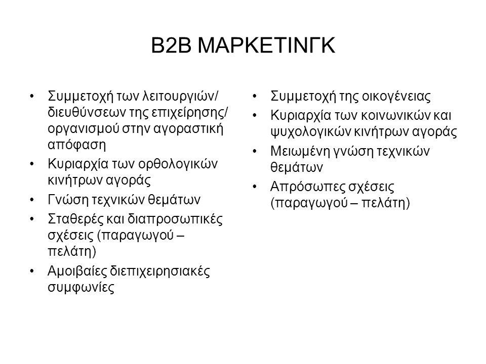 Β2Β ΜΑΡΚΕΤΙΝΓΚ Συμμετοχή των λειτουργιών/ διευθύνσεων της επιχείρησης/ οργανισμού στην αγοραστική απόφαση Κυριαρχία των ορθολογικών κινήτρων αγοράς Γνώση τεχνικών θεμάτων Σταθερές και διαπροσωπικές σχέσεις (παραγωγού – πελάτη) Αμοιβαίες διεπιχειρησιακές συμφωνίες Συμμετοχή της οικογένειας Κυριαρχία των κοινωνικών και ψυχολογικών κινήτρων αγοράς Μειωμένη γνώση τεχνικών θεμάτων Απρόσωπες σχέσεις (παραγωγού – πελάτη)