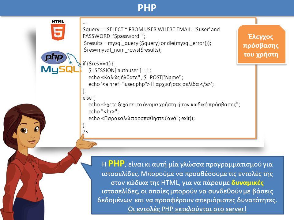 Η PHP, είναι κι αυτή μία γλώσσα προγραμματισμού για ιστοσελίδες.