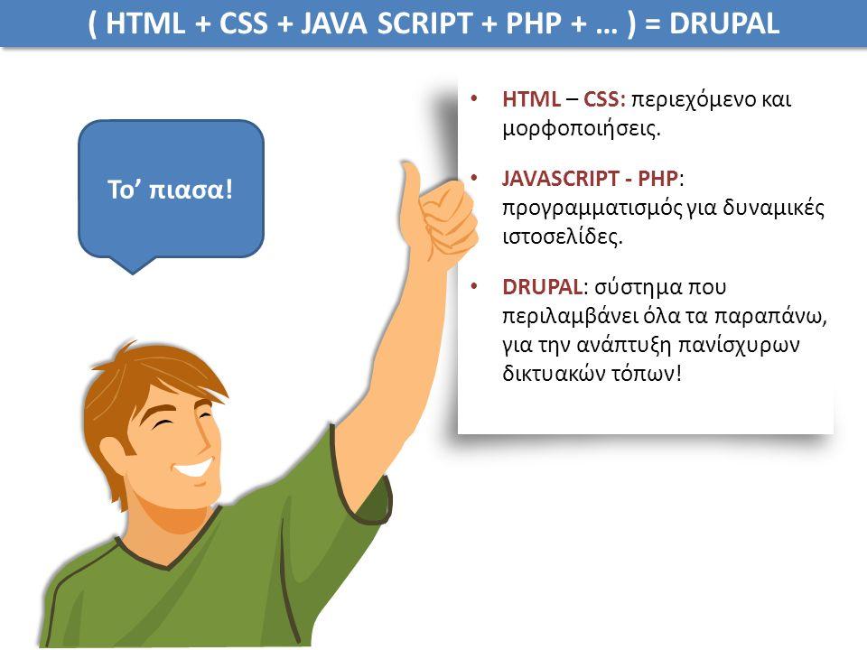 ( HTML + CSS + JAVA SCRIPT + PHP + … ) = DRUPAL HTML – CSS: περιεχόμενο και μορφοποιήσεις.