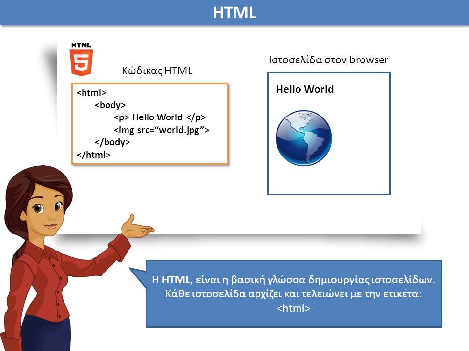 Η HTML, είναι η βασική γλώσσα δημιουργίας ιστοσελίδων.