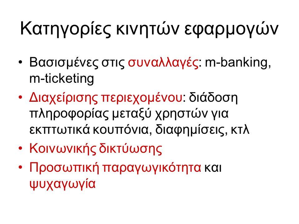Κατηγορίες κινητών εφαρμογών Βασισμένες στις συναλλαγές: m-banking, m-ticketing Διαχείρισης περιεχομένου: διάδοση πληροφορίας μεταξύ χρηστών για εκπτωτικά κουπόνια, διαφημίσεις, κτλ Κοινωνικής δικτύωσης Προσωπική παραγωγικότητα και ψυχαγωγία