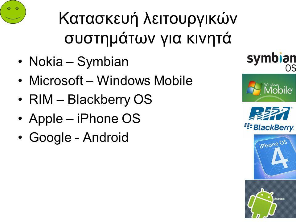Κατασκευή λειτουργικών συστημάτων για κινητά Nokia – Symbian Microsoft – Windows Mobile RIM – Blackberry OS Apple – iPhone OS Google - Android