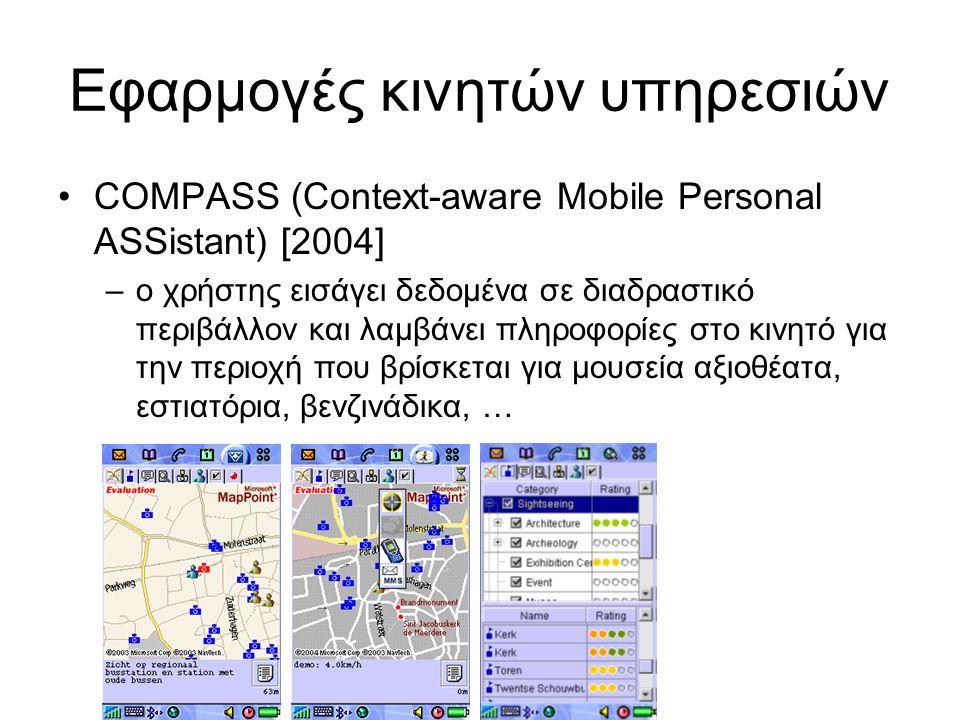 Εφαρμογές κινητών υπηρεσιών COMPASS (Context-aware Mobile Personal ASSistant) [2004] –ο χρήστης εισάγει δεδομένα σε διαδραστικό περιβάλλον και λαμβάνει πληροφορίες στο κινητό για την περιοχή που βρίσκεται για μουσεία αξιοθέατα, εστιατόρια, βενζινάδικα, …
