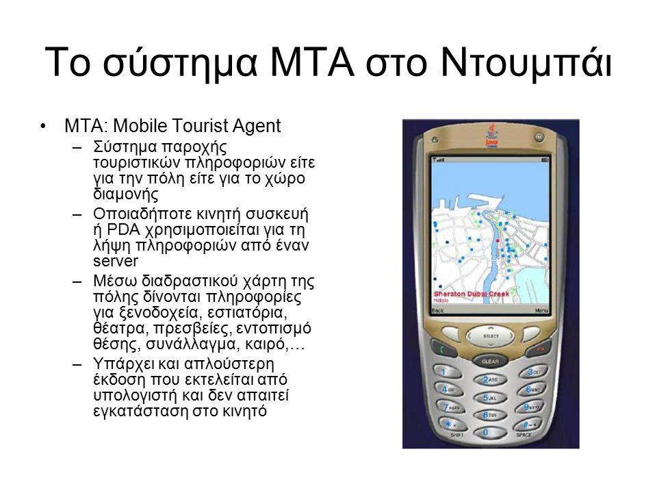 Το σύστημα ΜΤΑ στο Ντουμπάι ΜΤΑ: Mobile Tourist Agent –Σύστημα παροχής τουριστικών πληροφοριών είτε για την πόλη είτε για το χώρο διαμονής –Οποιαδήποτε κινητή συσκευή ή PDA χρησιμοποιείται για τη λήψη πληροφοριών από έναν server –Μέσω διαδραστικού χάρτη της πόλης δίνονται πληροφορίες για ξενοδοχεία, εστιατόρια, θέατρα, πρεσβείες, εντοπισμό θέσης, συνάλλαγμα, καιρό,… –Υπάρχει και απλούστερη έκδοση που εκτελείται από υπολογιστή και δεν απαιτεί εγκατάσταση στο κινητό