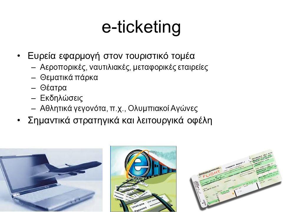 e-ticketing Ευρεία εφαρμογή στον τουριστικό τομέα –Αεροπορικές, ναυτιλιακές, μεταφορικές εταιρείες –Θεματικά πάρκα –Θέατρα –Εκδηλώσεις –Αθλητικά γεγονότα, π.χ., Ολυμπιακοί Αγώνες Σημαντικά στρατηγικά και λειτουργικά οφέλη