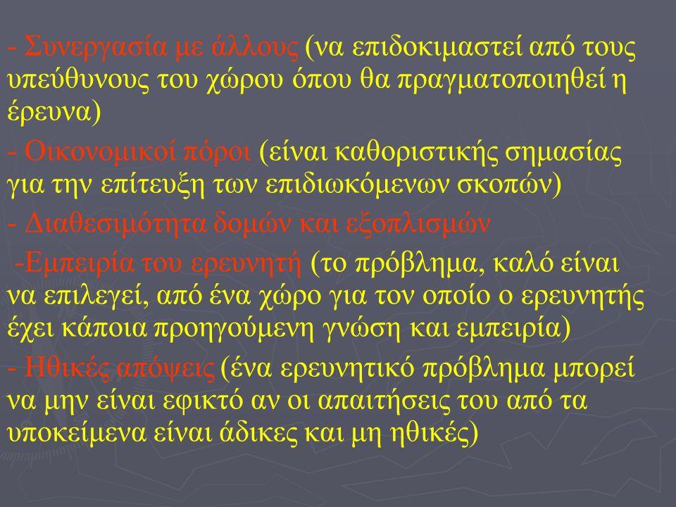 - Συνεργασία με άλλους (να επιδοκιμαστεί από τους υπεύθυνους του χώρου όπου θα πραγματοποιηθεί η έρευνα) - Οικονομικοί πόροι (είναι καθοριστικής σημασίας για την επίτευξη των επιδιωκόμενων σκοπών) - Διαθεσιμότητα δομών και εξοπλισμών -Εμπειρία του ερευνητή (το πρόβλημα, καλό είναι να επιλεγεί, από ένα χώρο για τον οποίο ο ερευνητής έχει κάποια προηγούμενη γνώση και εμπειρία) - Ηθικές απόψεις (ένα ερευνητικό πρόβλημα μπορεί να μην είναι εφικτό αν οι απαιτήσεις του από τα υποκείμενα είναι άδικες και μη ηθικές)