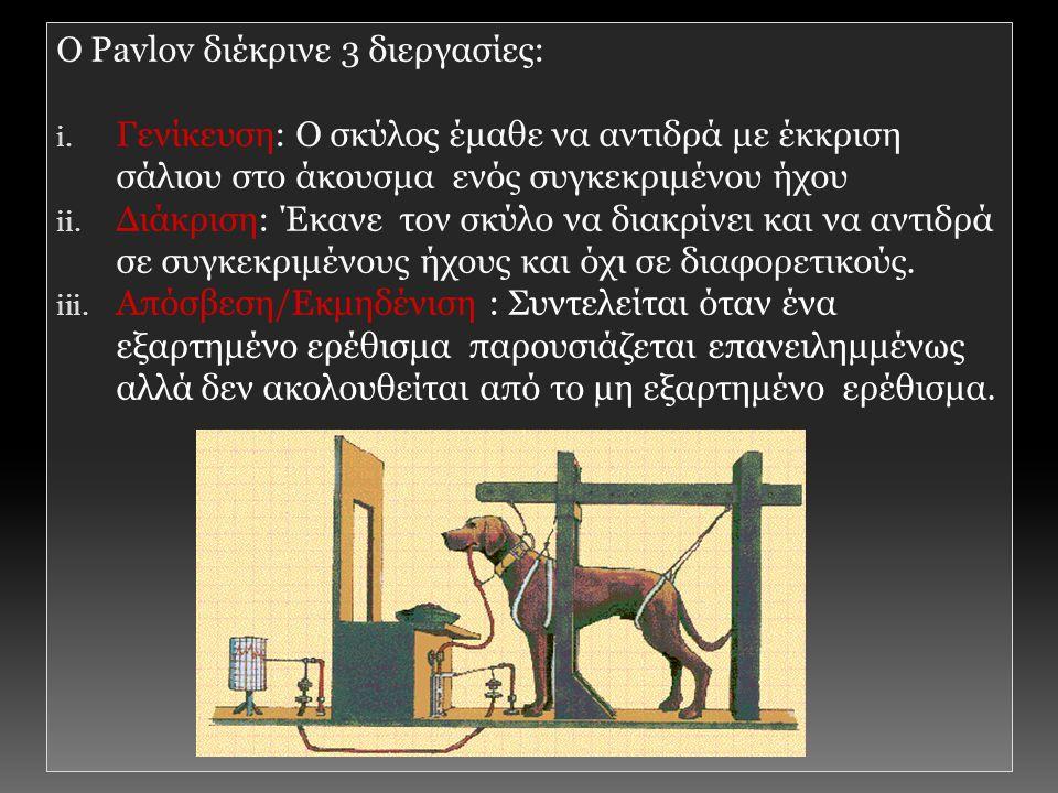 Ο Pavlov διέκρινε 3 διεργασίες: i.