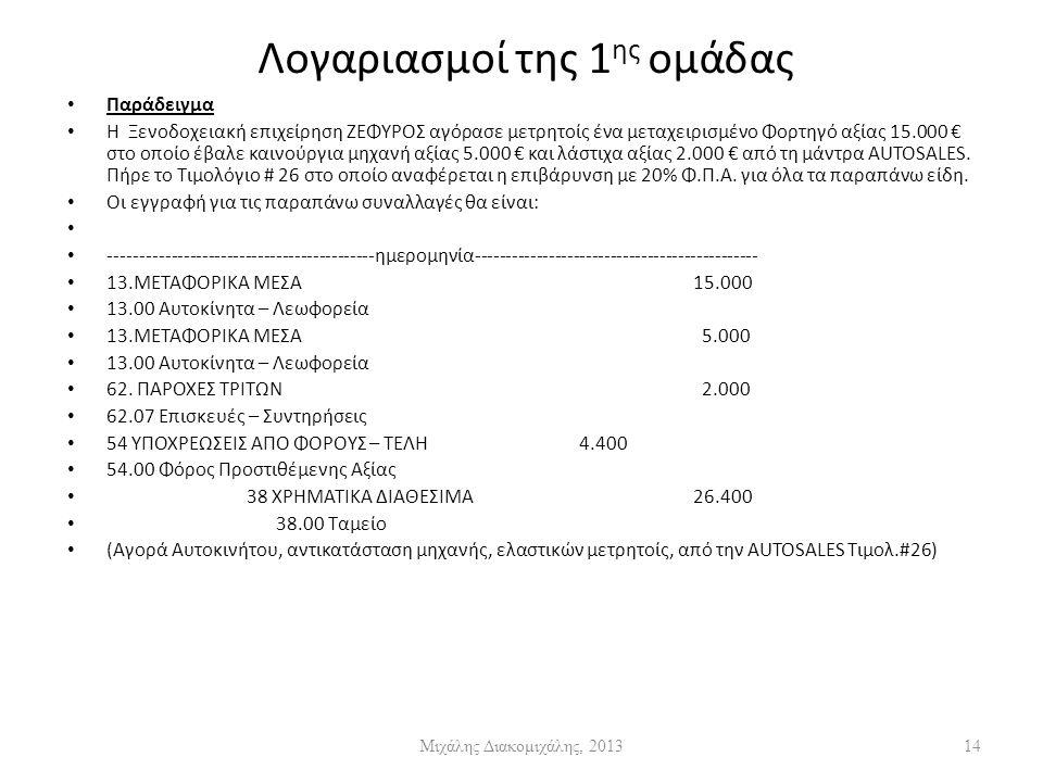 Λογαριασμοί της 1 ης ομάδας Παράδειγμα Η Ξενοδοχειακή επιχείρηση ΖΕΦΥΡΟΣ αγόρασε μετρητοίς ένα μεταχειρισμένο Φορτηγό αξίας 15.000 € στο οποίο έβαλε καινούργια μηχανή αξίας 5.000 € και λάστιχα αξίας 2.000 € από τη μάντρα AUTOSALES.