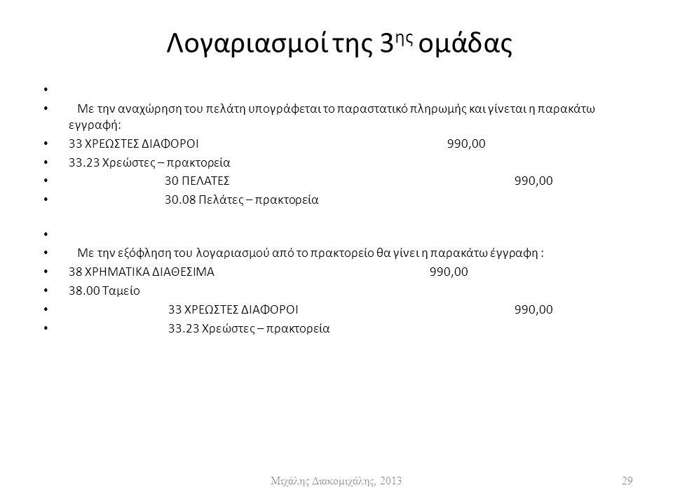 Λογαριασμοί της 3 ης ομάδας Με την αναχώρηση του πελάτη υπογράφεται το παραστατικό πληρωμής και γίνεται η παρακάτω εγγραφή: 33 ΧΡΕΩΣΤΕΣ ΔΙΑΦΟΡΟΙ990,00 33.23 Χρεώστες – πρακτορεία 30 ΠΕΛΑΤΕΣ990,00 30.08 Πελάτες – πρακτορεία Με την εξόφληση του λογαριασμού από το πρακτορείο θα γίνει η παρακάτω έγγραφη : 38 ΧΡΗΜΑΤΙΚΑ ΔΙΑΘΕΣΙΜΑ 990,00 38.00 Ταμείο 33 ΧΡΕΩΣΤΕΣ ΔΙΑΦΟΡΟΙ 990,00 33.23 Χρεώστες – πρακτορεία Μιχάλης Διακομιχάλης, 201329