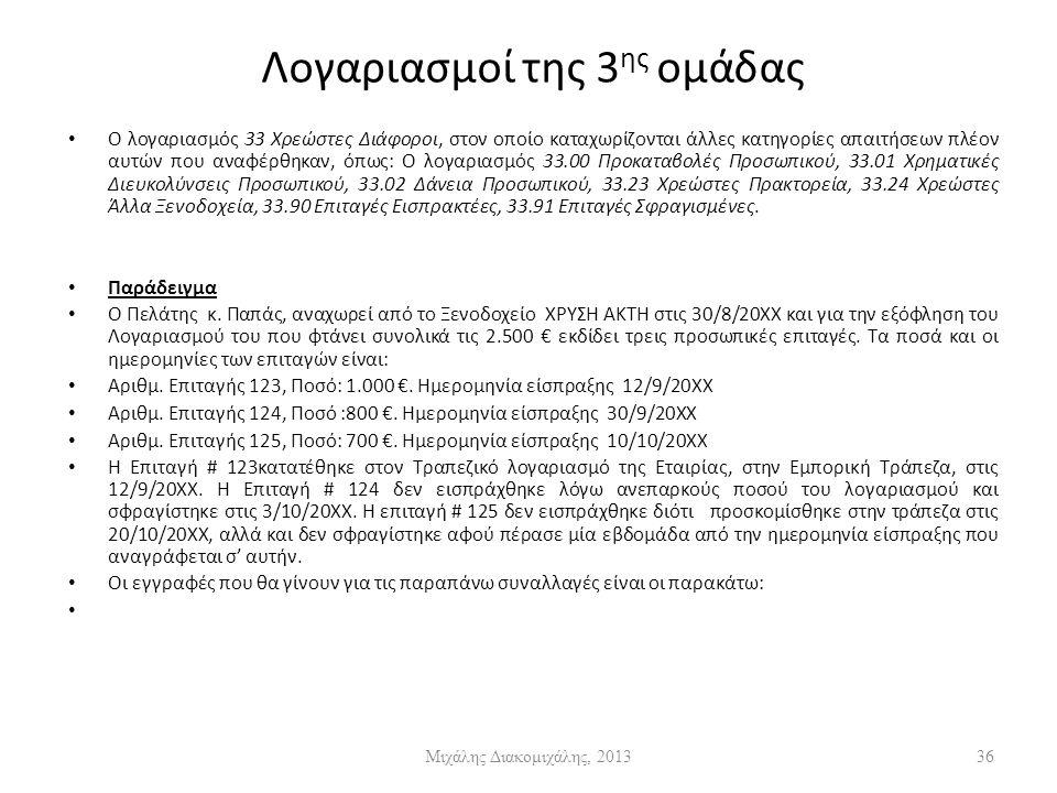 Λογαριασμοί της 3 ης ομάδας Ο λογαριασμός 33 Χρεώστες Διάφοροι, στον οποίο καταχωρίζονται άλλες κατηγορίες απαιτήσεων πλέον αυτών που αναφέρθηκαν, όπως: Ο λογαριασμός 33.00 Προκαταβολές Προσωπικού, 33.01 Χρηματικές Διευκολύνσεις Προσωπικού, 33.02 Δάνεια Προσωπικού, 33.23 Χρεώστες Πρακτορεία, 33.24 Χρεώστες Άλλα Ξενοδοχεία, 33.90 Επιταγές Εισπρακτέες, 33.91 Επιταγές Σφραγισμένες.
