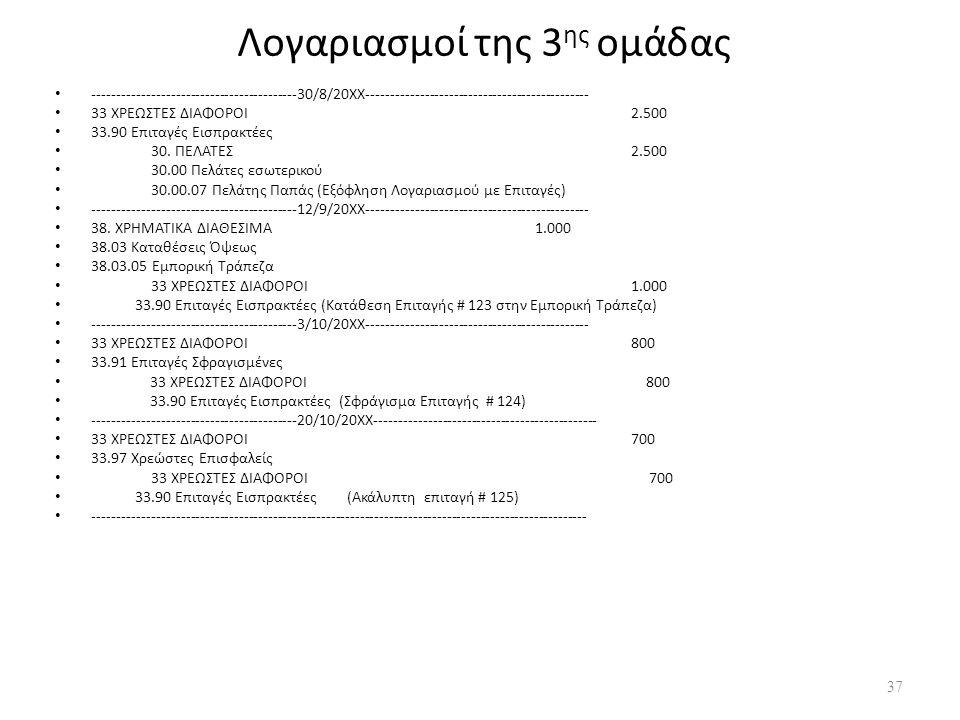 Λογαριασμοί της 3 ης ομάδας ------------------------------------------30/8/20ΧΧ---------------------------------------------- 33 ΧΡΕΩΣΤΕΣ ΔΙΑΦΟΡΟΙ2.500 33.90 Επιταγές Εισπρακτέες 30.