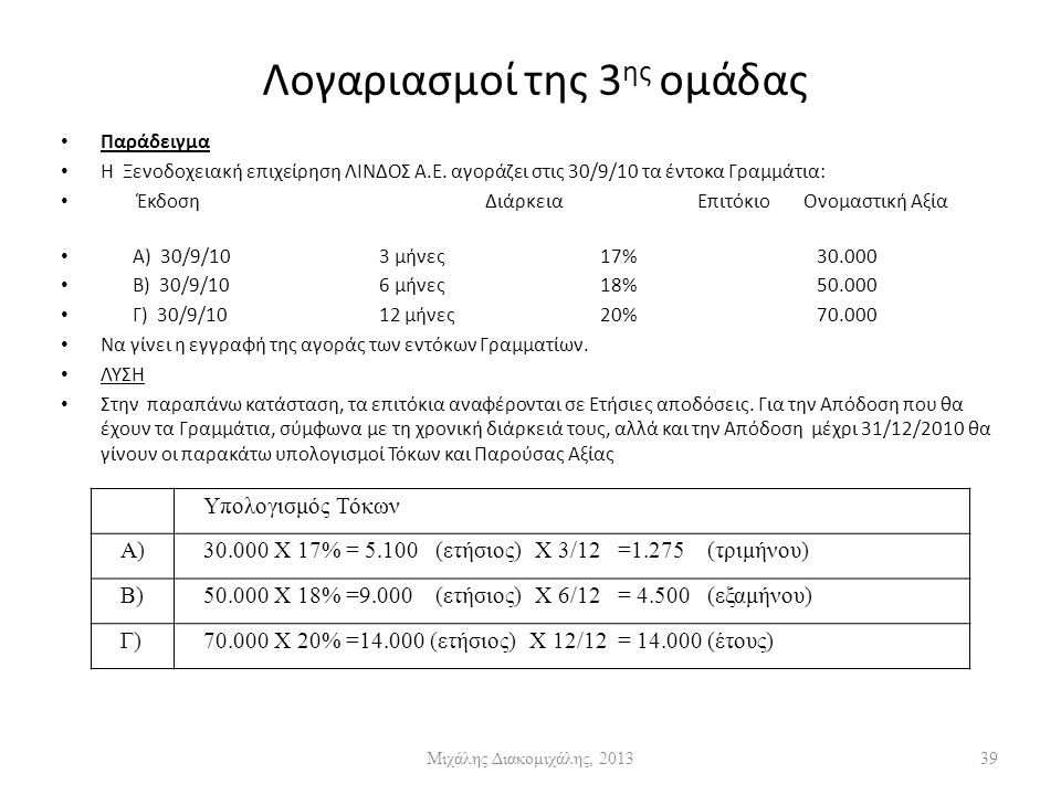 Λογαριασμοί της 3 ης ομάδας Παράδειγμα Η Ξενοδοχειακή επιχείρηση ΛΙΝΔΟΣ Α.Ε.
