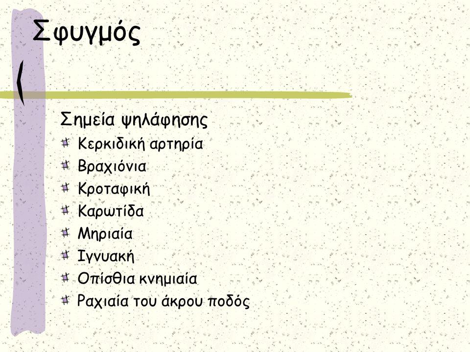 Σφυγμός Σημεία ψηλάφησης Κερκιδική αρτηρία Βραχιόνια Κροταφική Καρωτίδα Μηριαία Ιγνυακή Οπίσθια κνημιαία Ραχιαία του άκρου ποδός