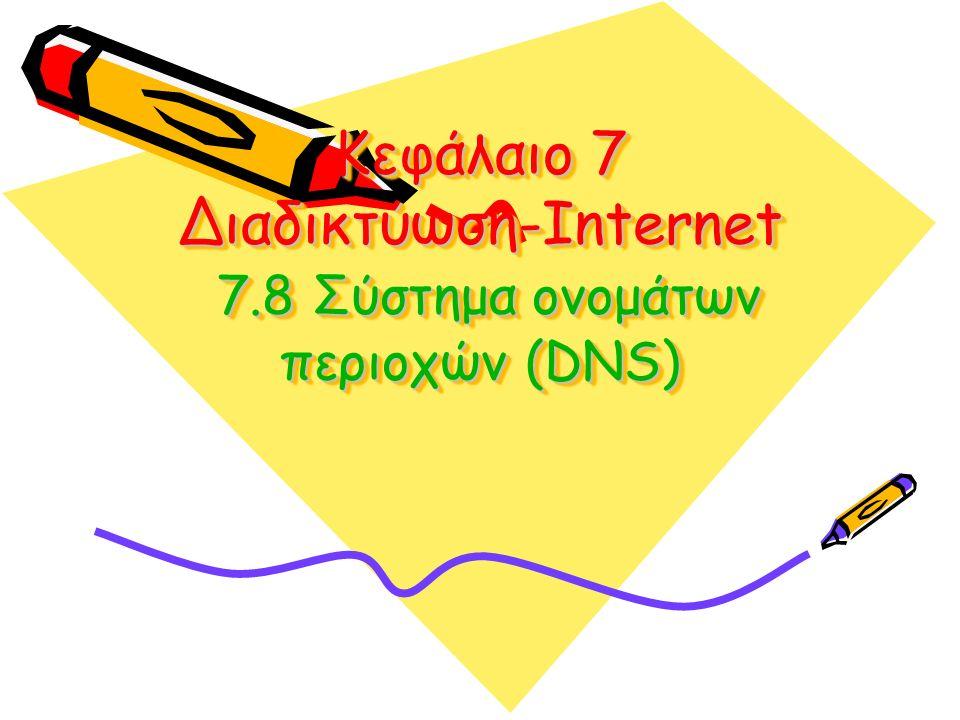 Κεφάλαιο 7 Διαδικτύωση-Internet 7.8 Σύστημα ονομάτων περιοχών (DNS)