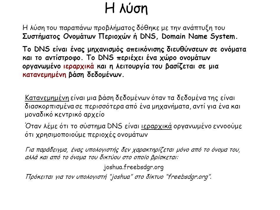 Η λύση Η λύση του παραπάνω προβλήματος δόθηκε με την ανάπτυξη του Συστήματος Ονομάτων Περιοχών ή DNS, Domain Name System.